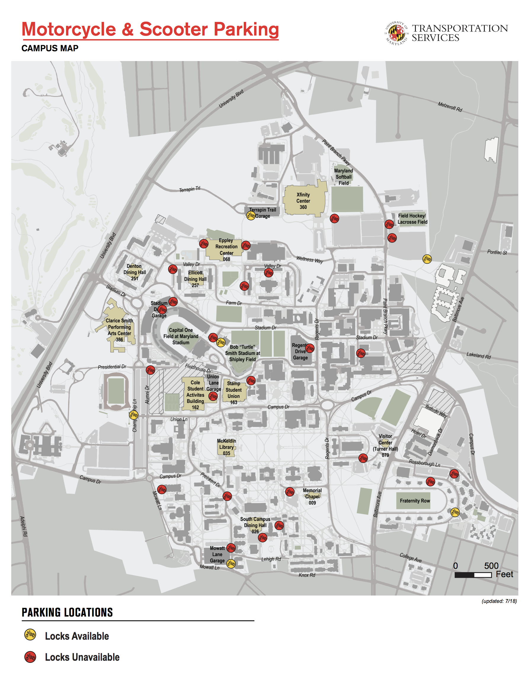 umd map of campus Motorcycle Scooter Parking Map Umd Dots umd map of campus