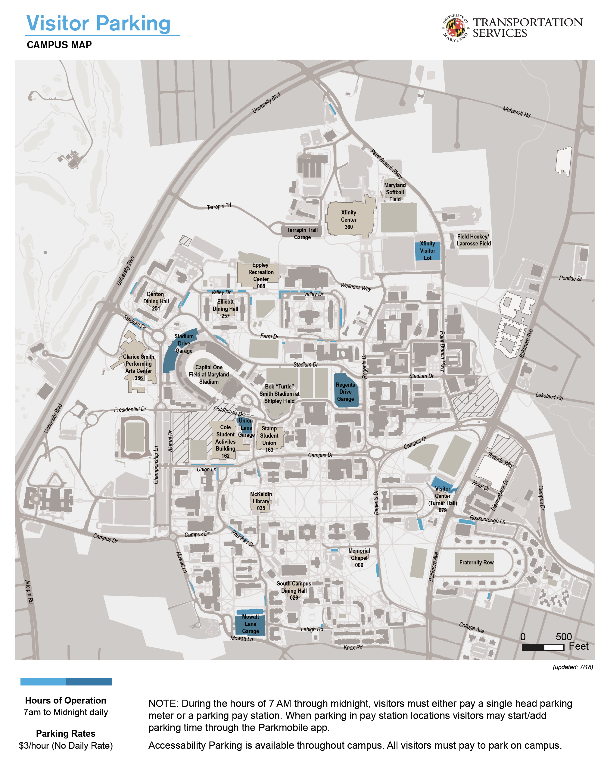 university of md campus map Visitor Parking Map Umd Dots university of md campus map