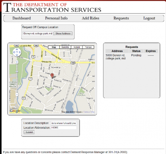 off-campus paratransit ride request image